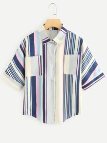 Multi-Stripe Curved Hem Shirt