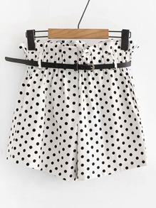 Frill Trim Spot Shorts With Belt