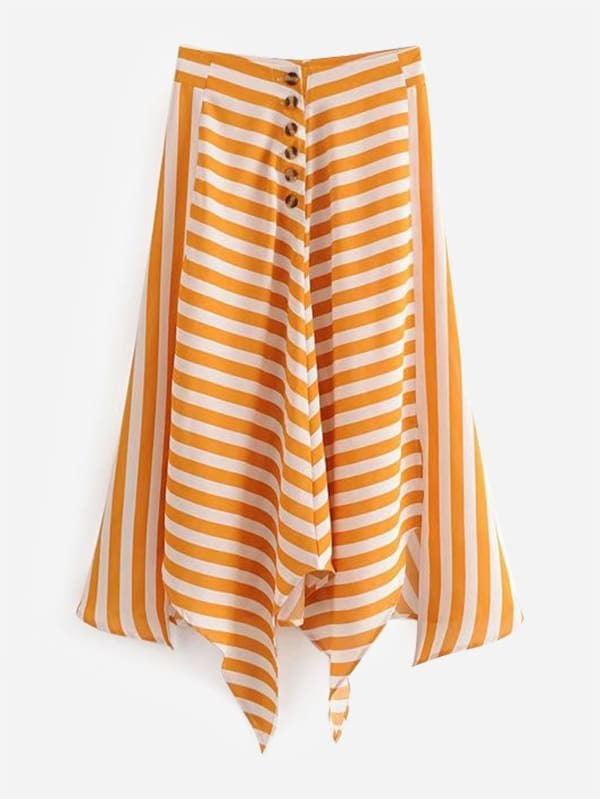 Contrast Stripe Asymmetric Hem Skirt block stripe hanky hem skirt