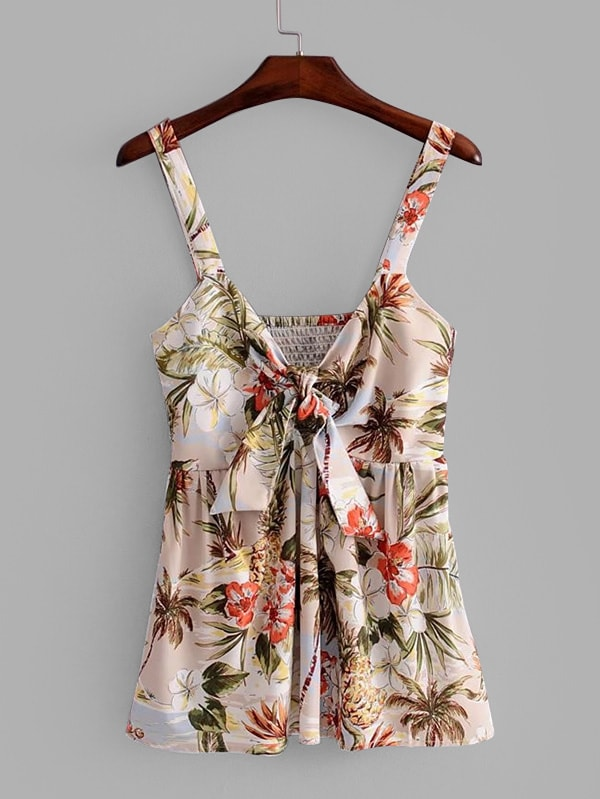Knot Front Ruffle Hem Florals Top wrap front tied v back ruffle hem dress