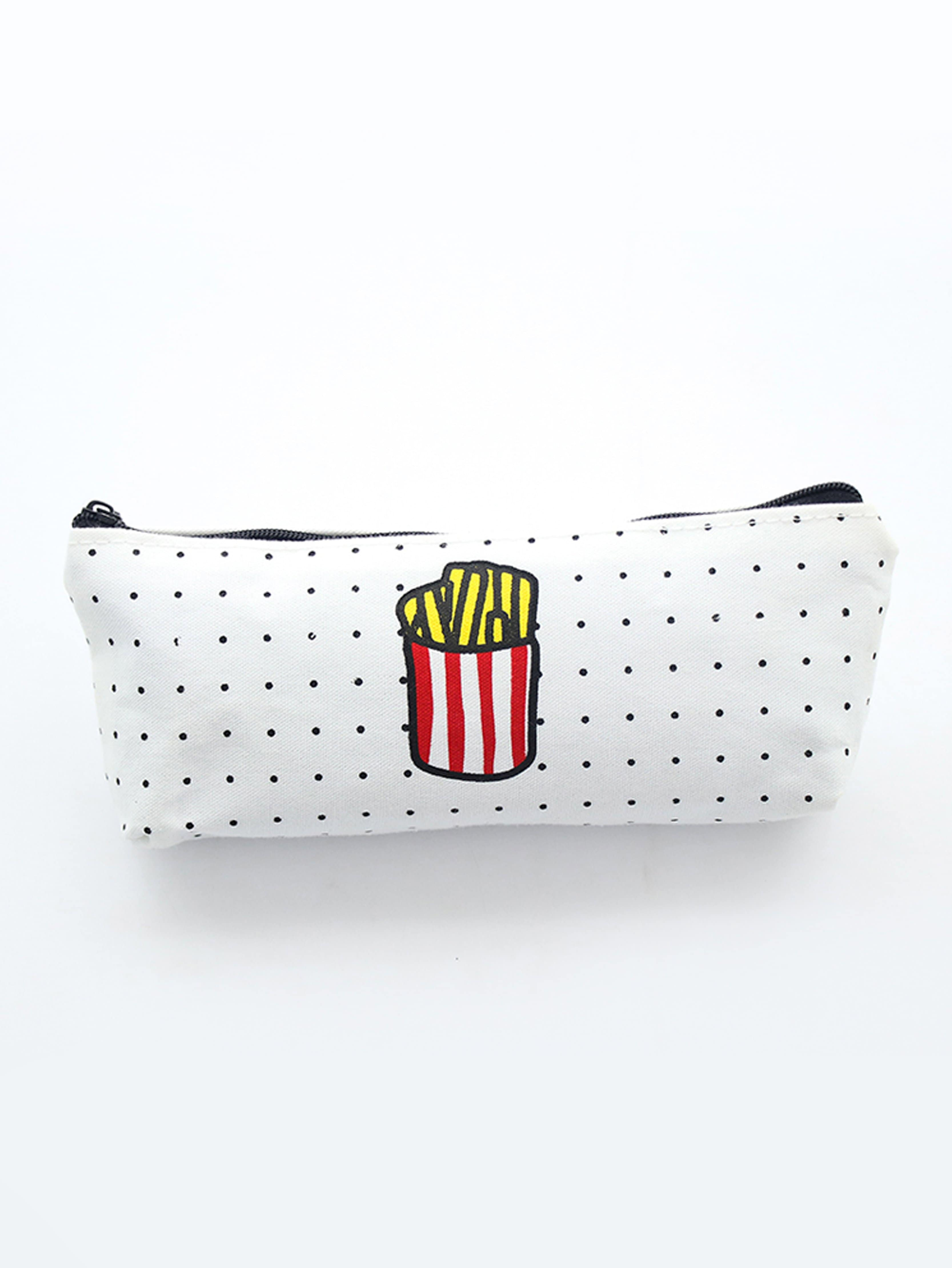 French Fries Pencil Case one casual french fries print bestie tees in white