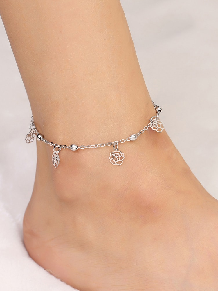 Hollow Rose Detail Chain Anklet