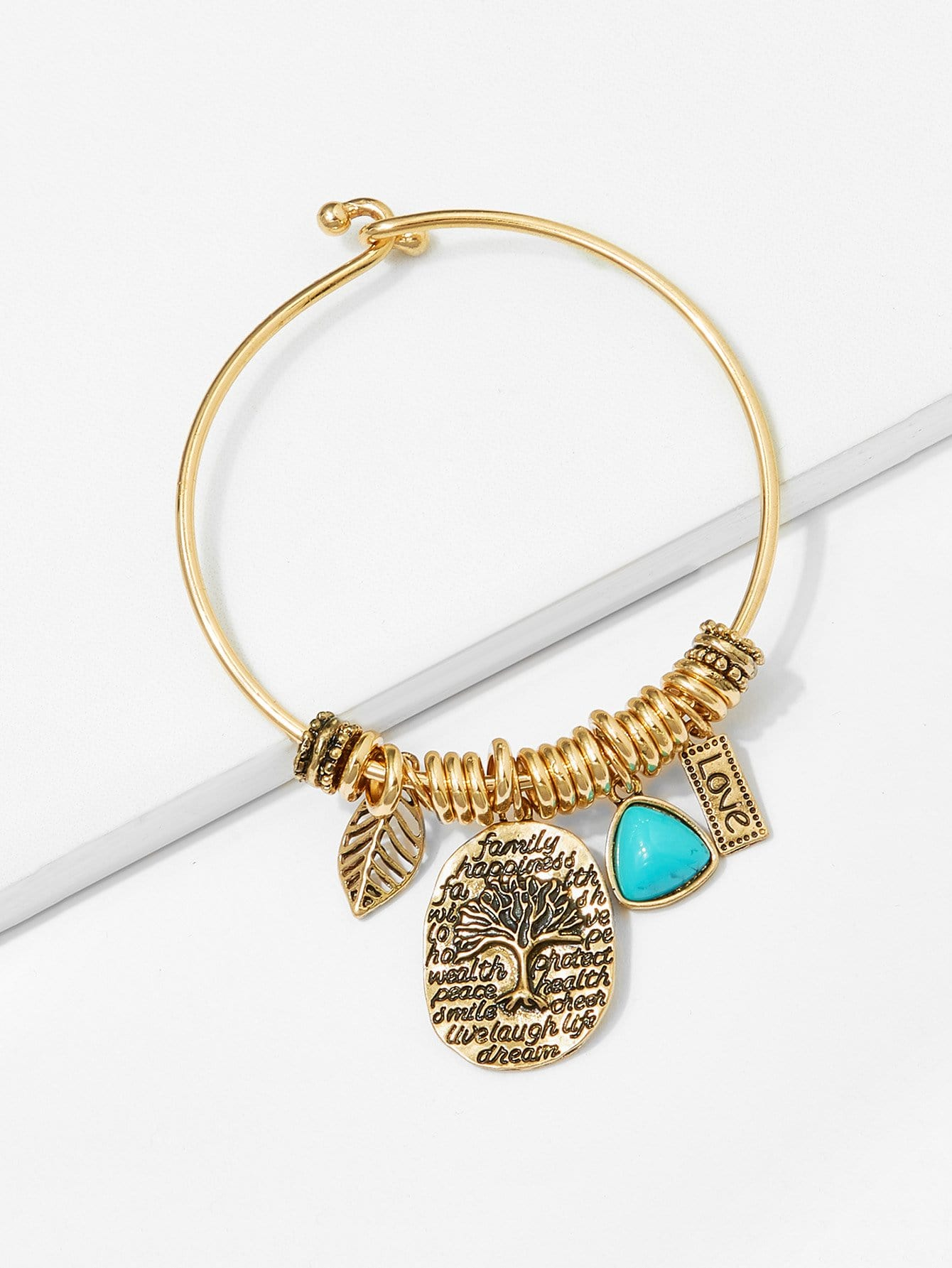 Leaf & Tree Detail Bangle Bracelet leaf opening bracelet