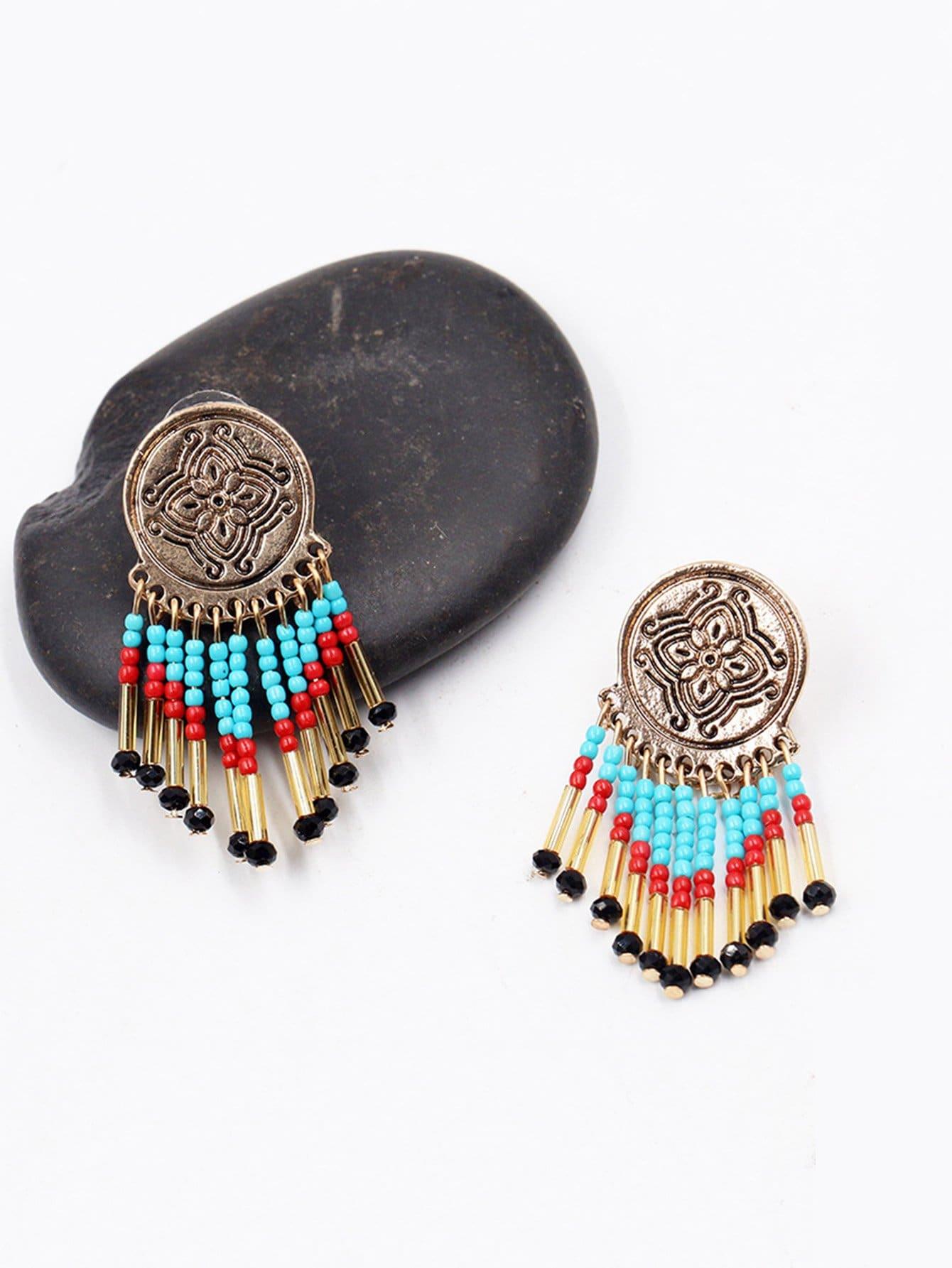 Color Block Fringe Design Drop Earrings
