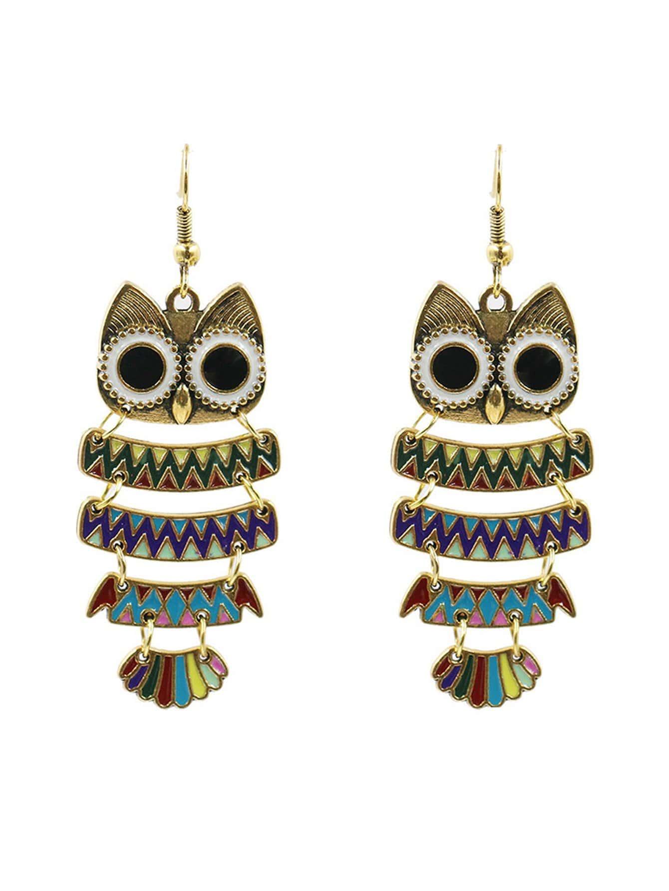 Owl Design Layered Drop Earrings
