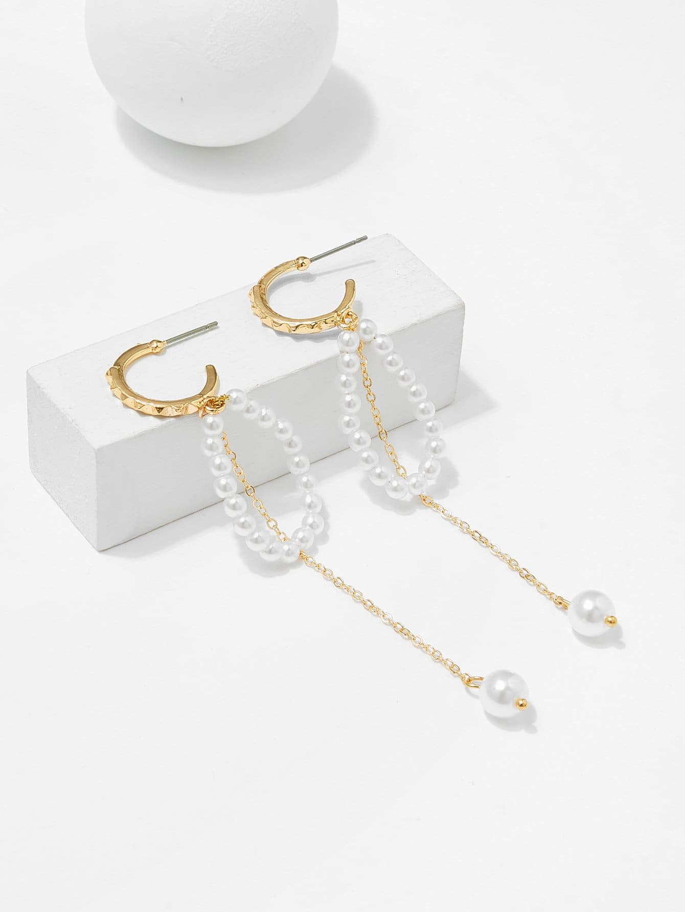 Faux Pearl Ring Decorated Drop Earrings faux pearl asymmetrical ring