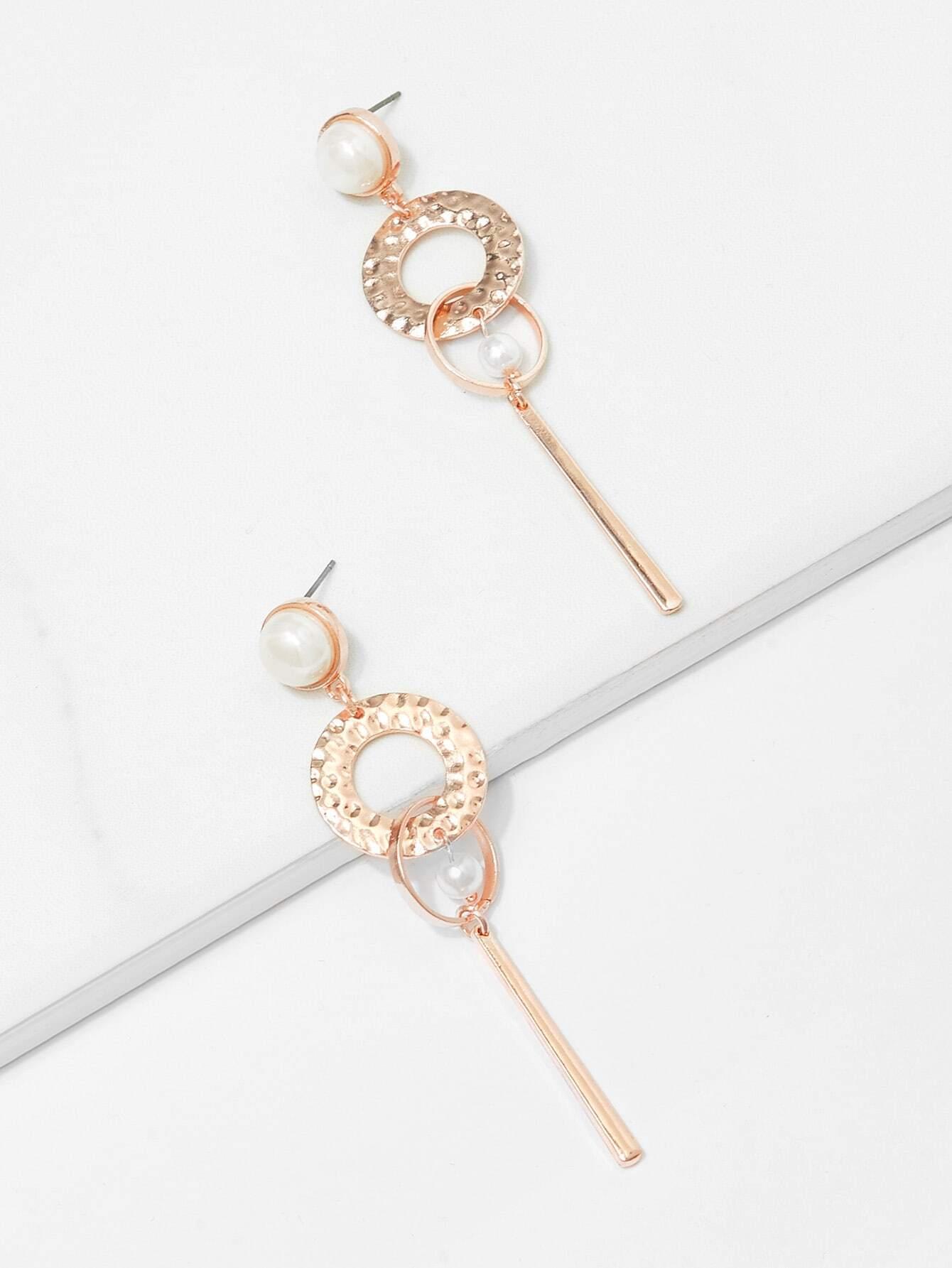 Bar Detail Hoop Drop Earrings bow detail hoop drop earrings
