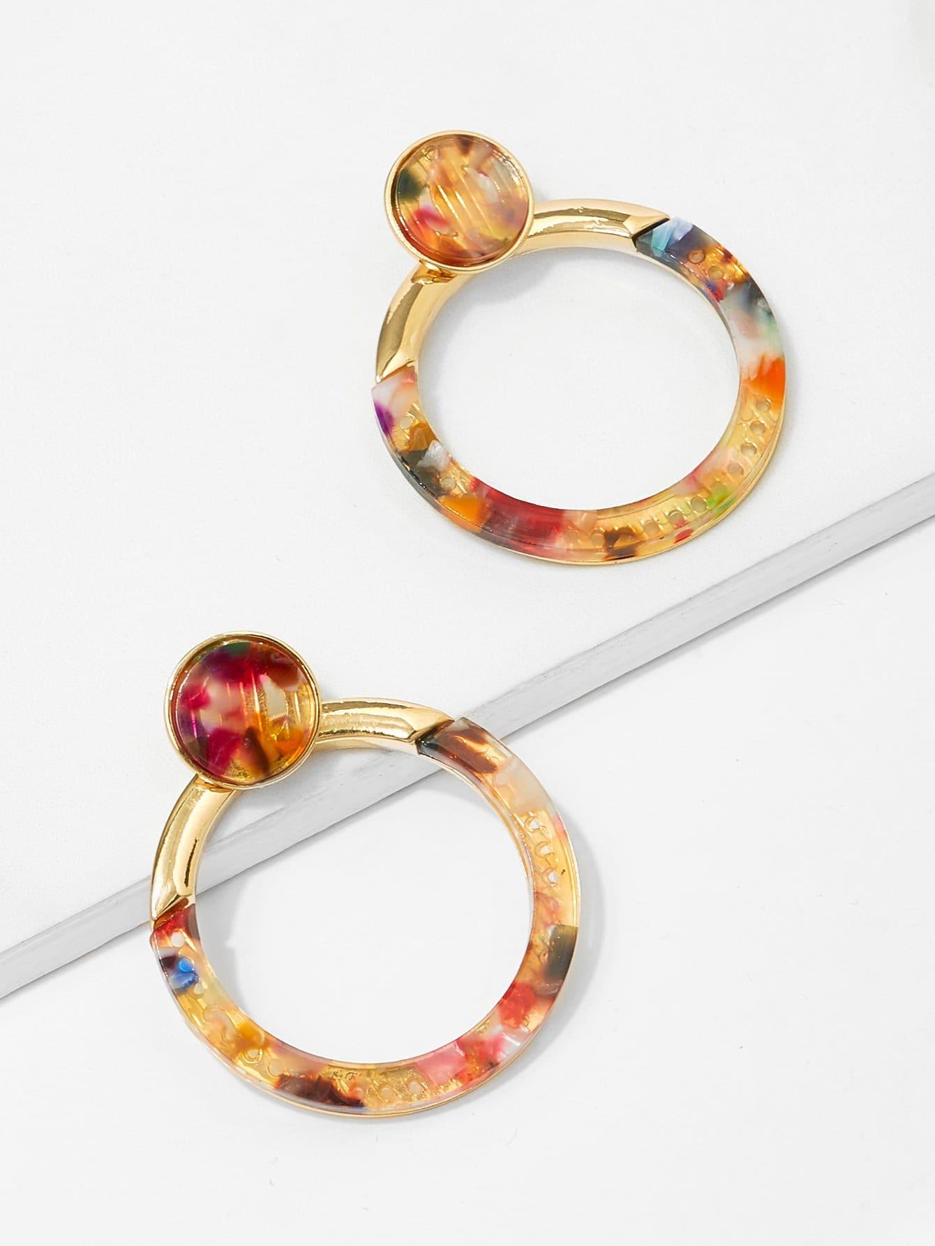 Round Detail Hoop Earrings bow detail hoop drop earrings