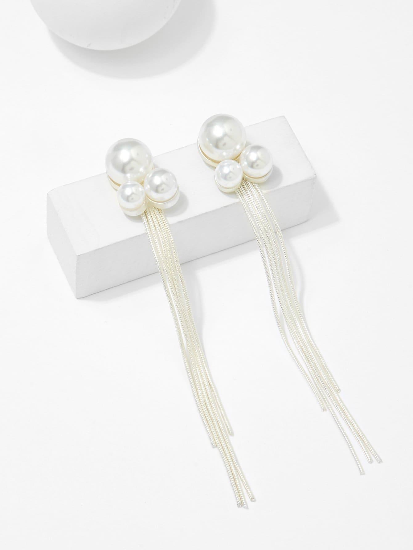 Faux Pearl Metal Tassel Drop Earrings lace faux pearl tassel drop earrings