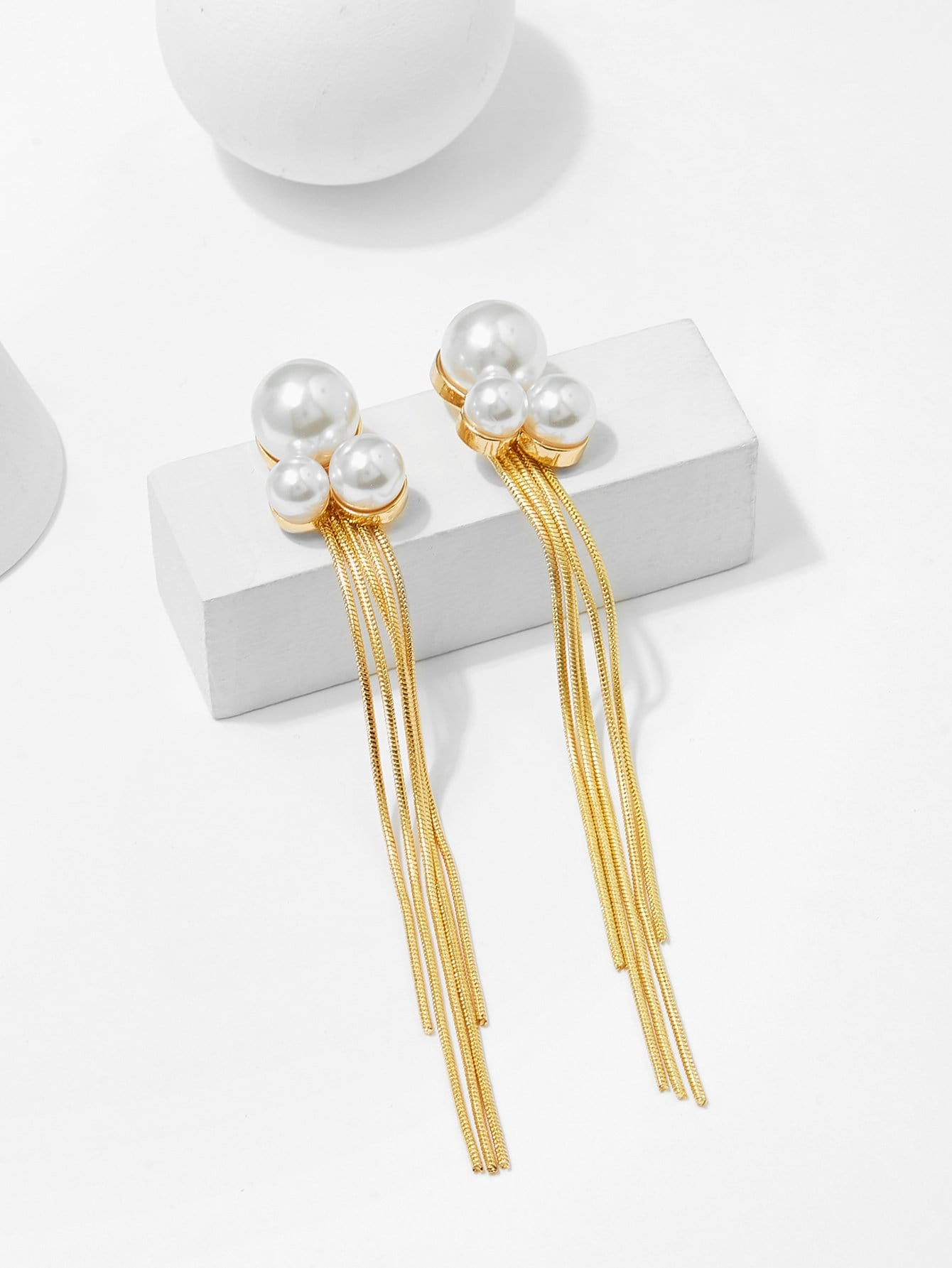 Faux Pearl Metal Tassel Drop Earrings faux pearl ball drop earrings