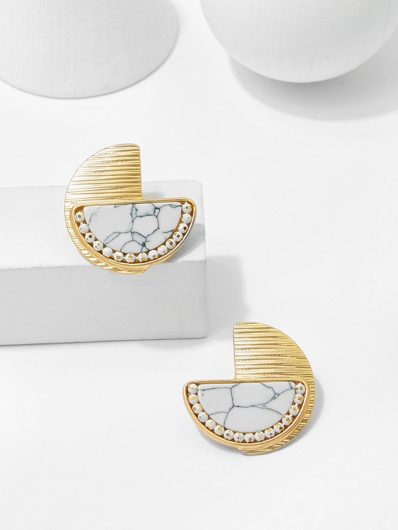 Marble Pattern Half Round Stud Earring