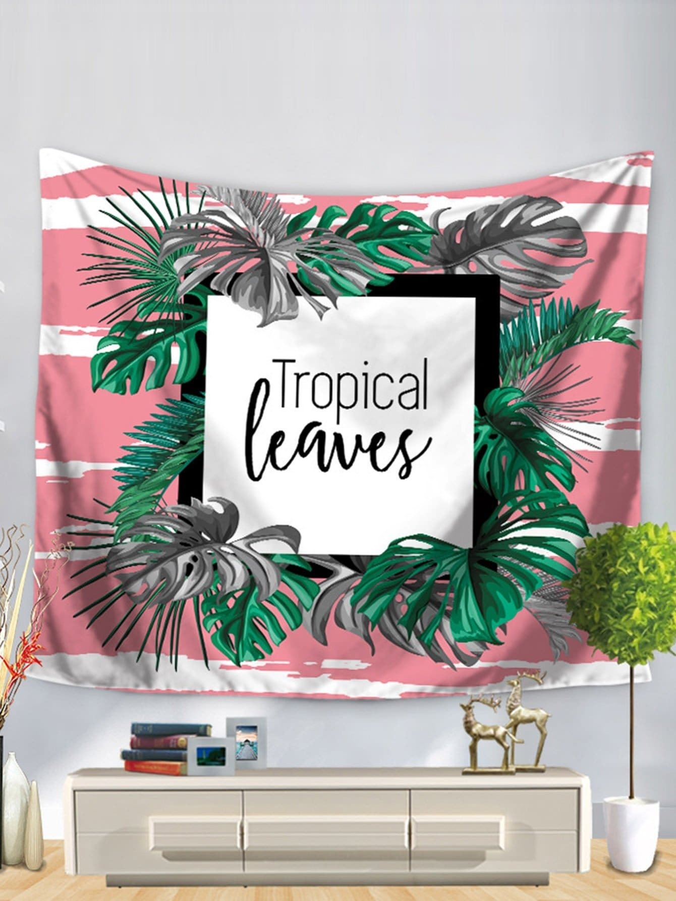 Tropical Leaves Print Tapestry tropical green leaves print wall hanging tapestry