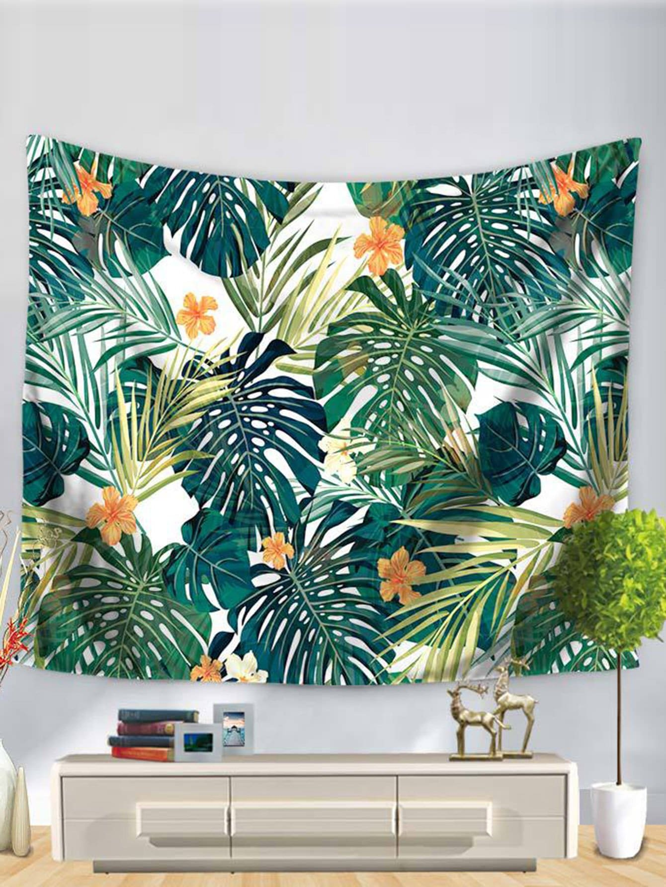 Tropical Leaves Print Tapestry tropical leaves drop earrings
