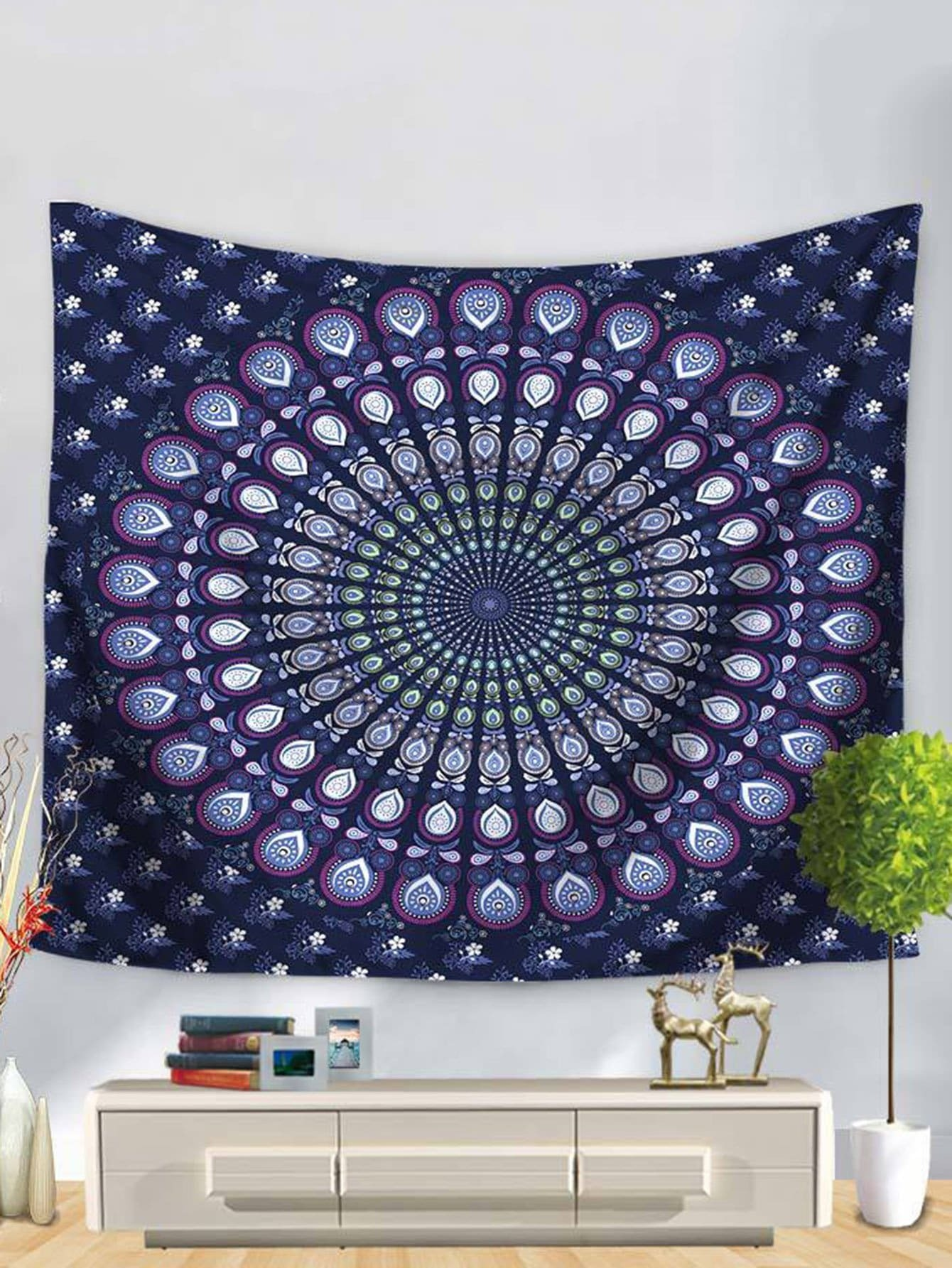 Symmetrical Flower Print Tapestry patchwork lotus flower print tapestry