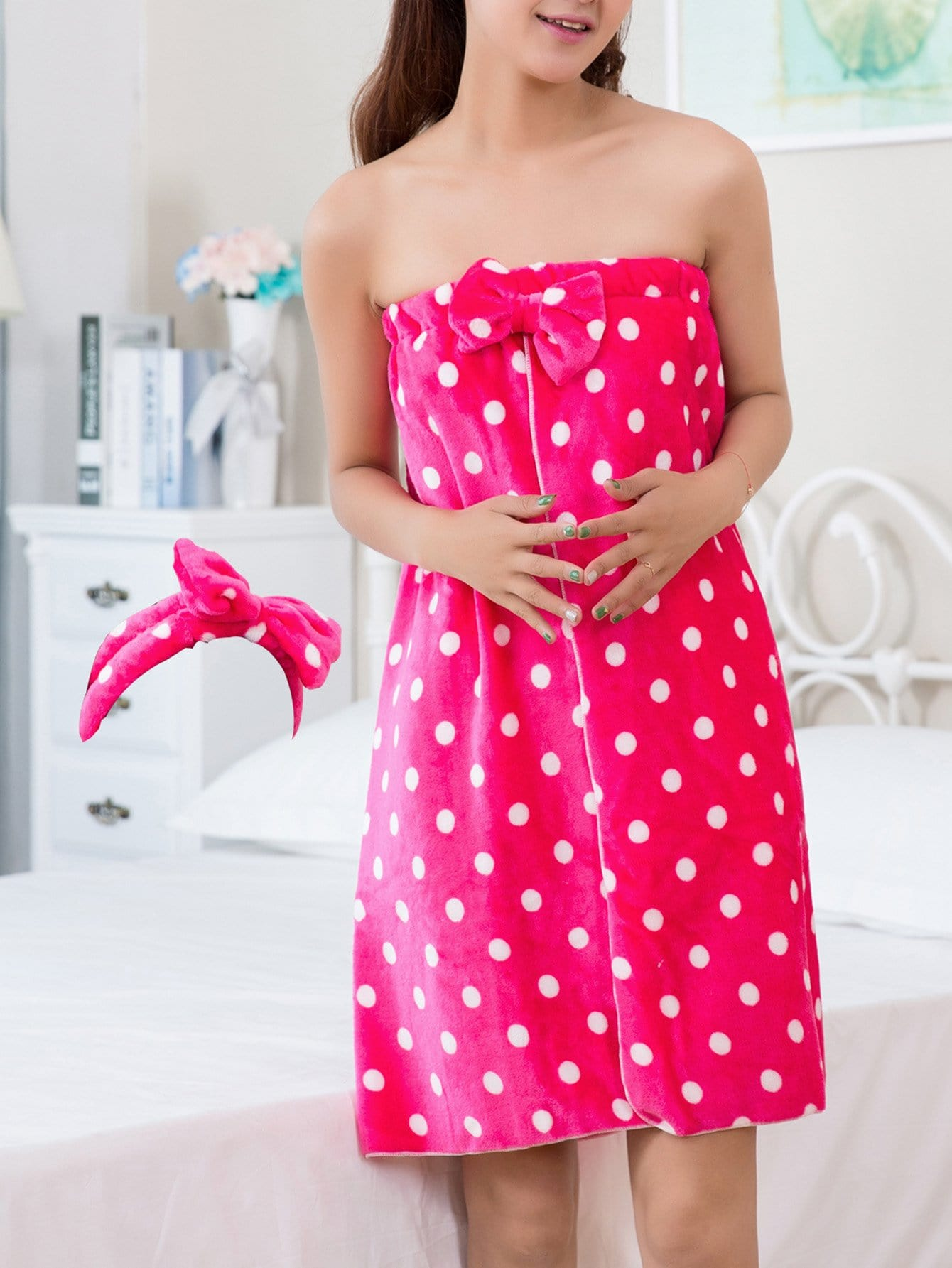 Polka Dot Bath Wrap With Headband