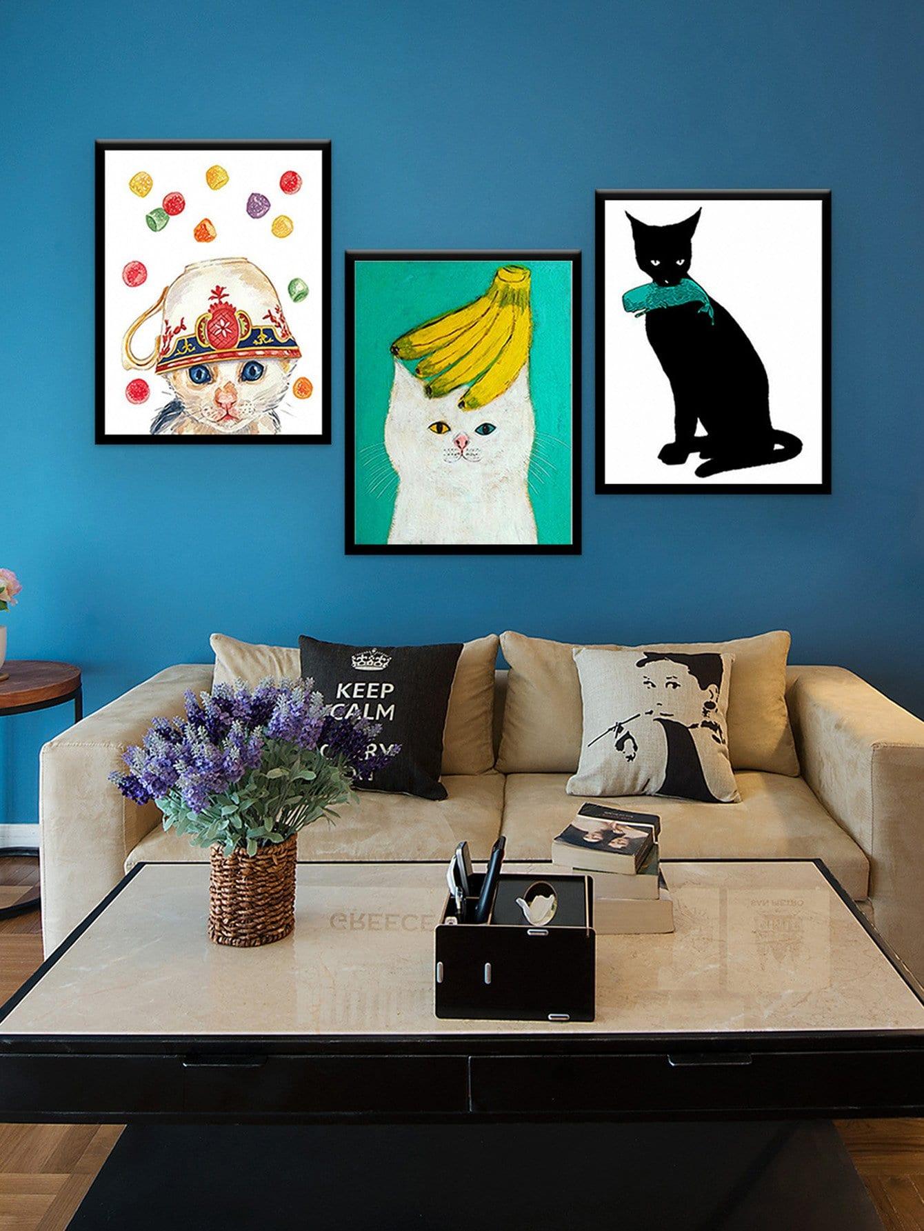 Watercolor Cat Cloth Wall Art 3pcs watercolor cat cloth wall art 3pcs