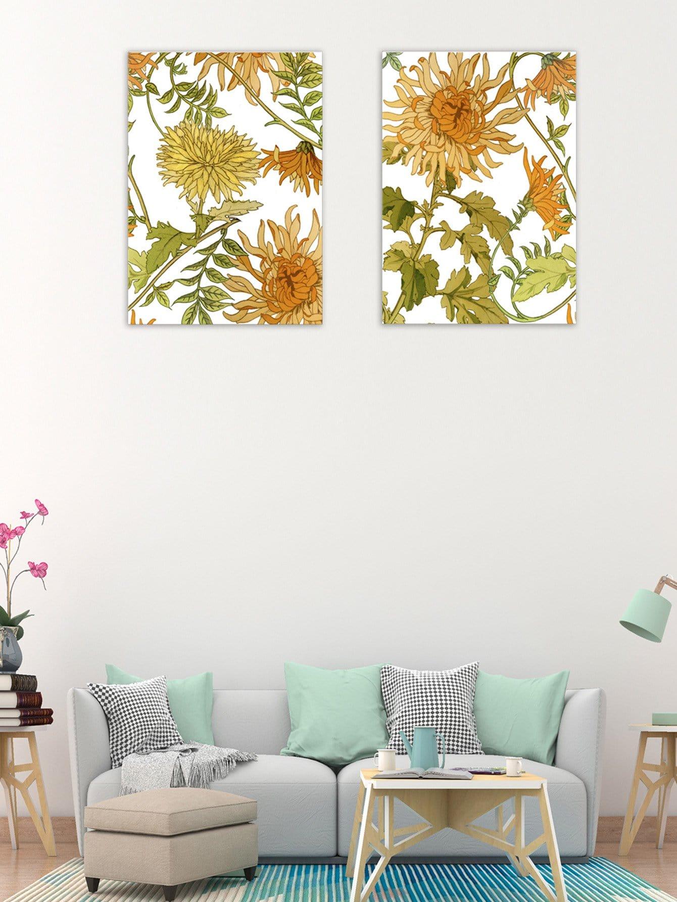 Chrysanthemum Cloth Wall Art 2pcs bear pattern cloth wall art 2pcs