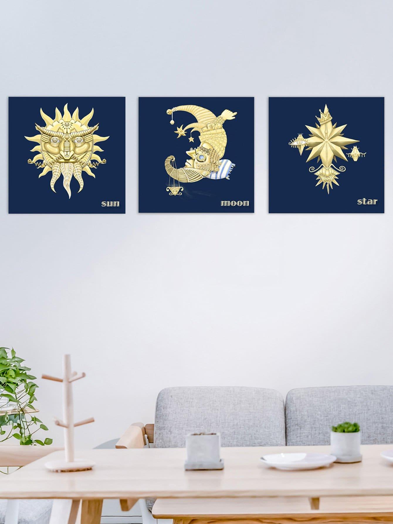Sun & Moon Pattern Cloth Wall Art 3pcs watercolor cat cloth wall art 3pcs