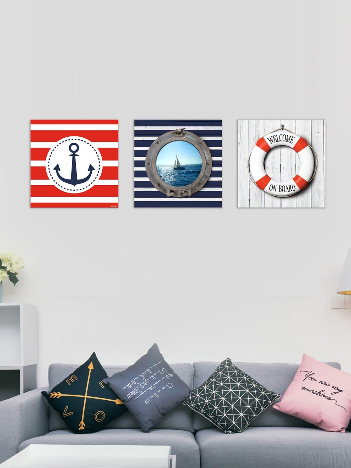 Anchor & Ship Pattern Cloth Wall Art 3pcs
