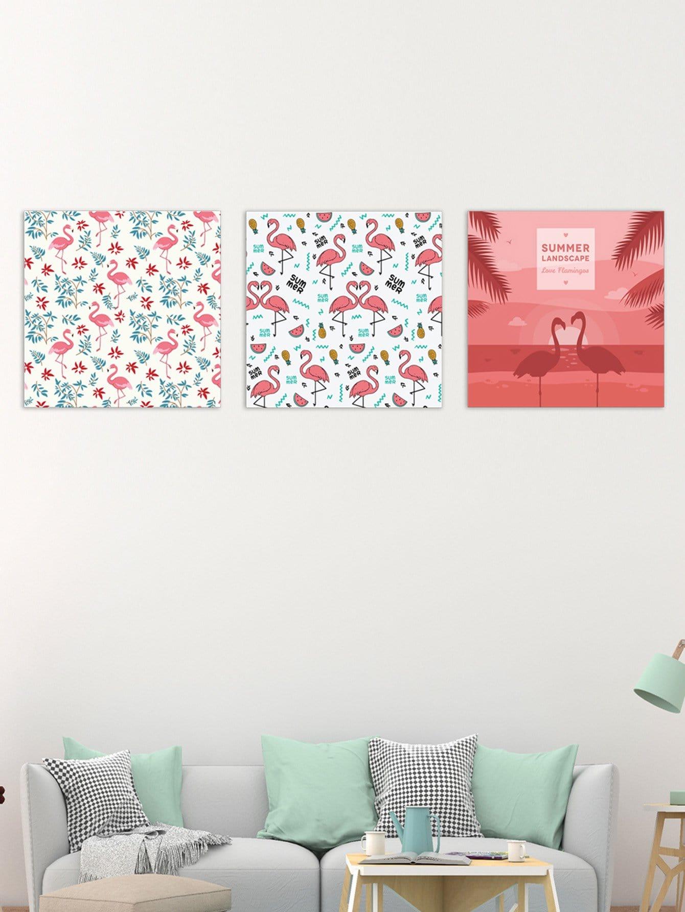 Flamingo Pattern Cloth Wall Art 3pcs watercolor cat cloth wall art 3pcs