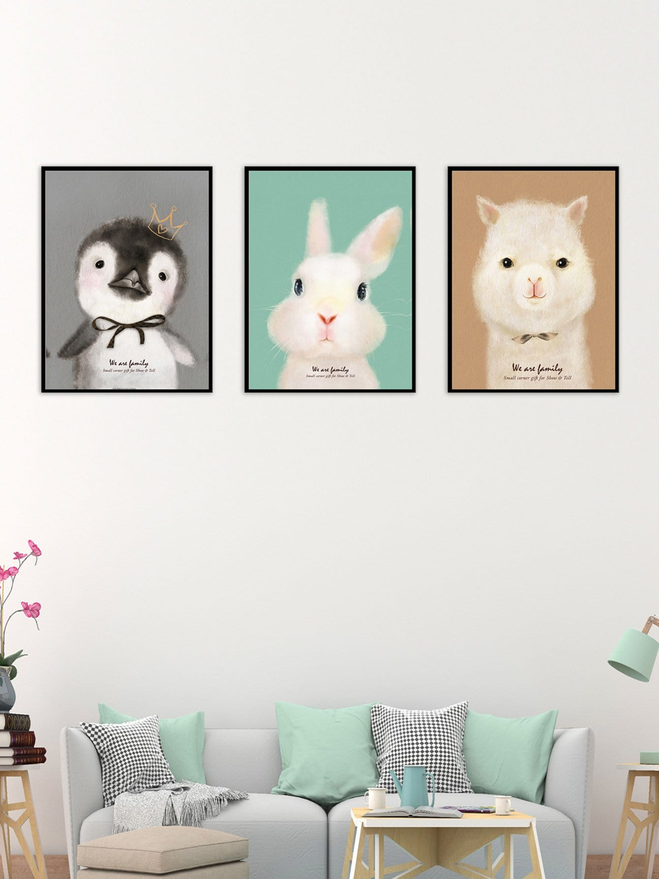 Animal Pattern Cloth Wall Art 3pcs watercolor cat cloth wall art 3pcs