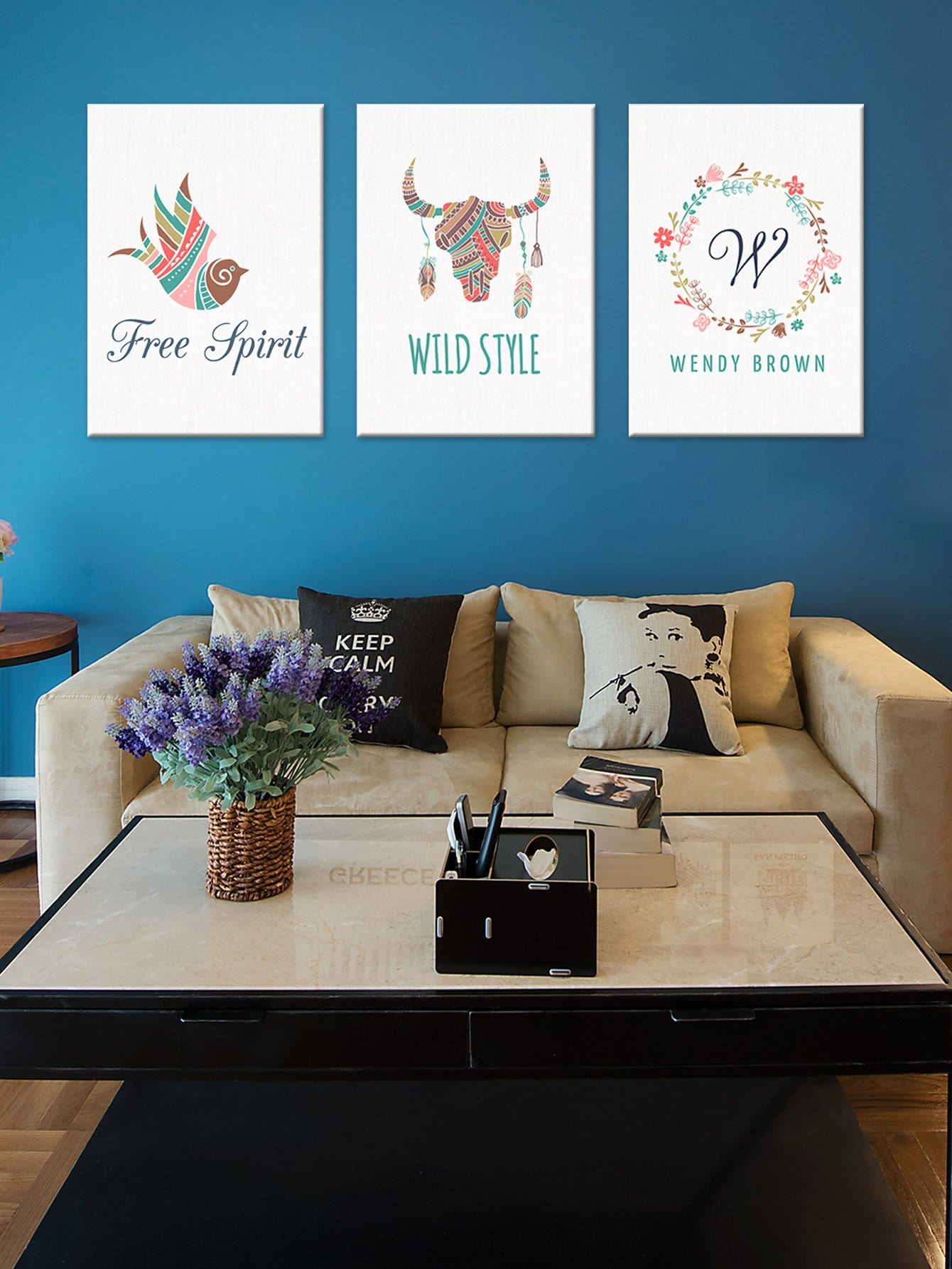 Flower & Animal Cloth Wall Art 3pcs hydrangea flower cloth art