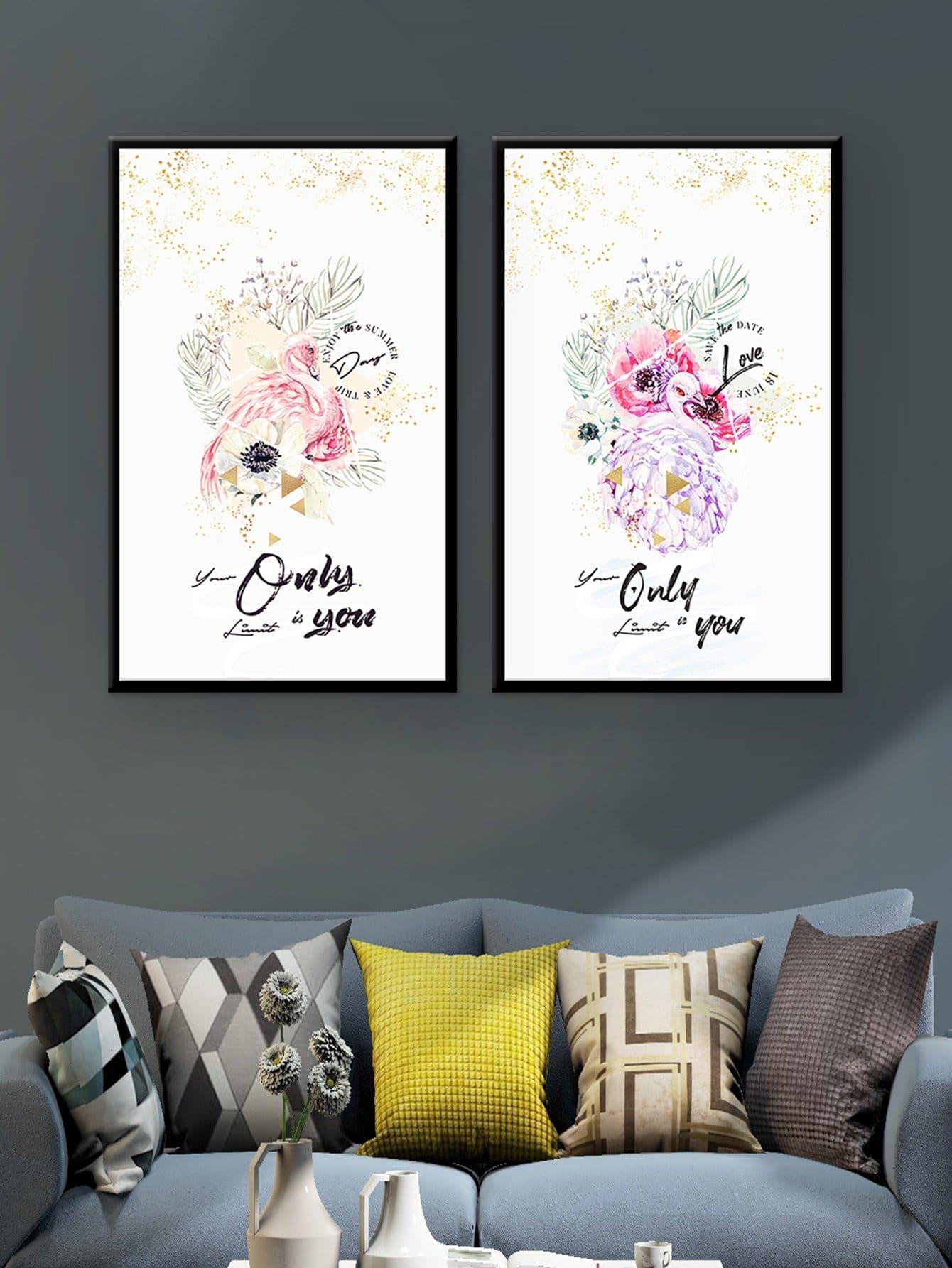 Elegant Flamingo Cloth Wall Art 2pcs bear pattern cloth wall art 2pcs