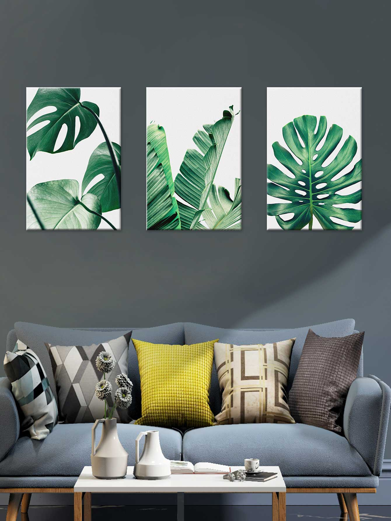Tropical Leaves Cloth Wall Art 3pcs tropical leaves wall sticker