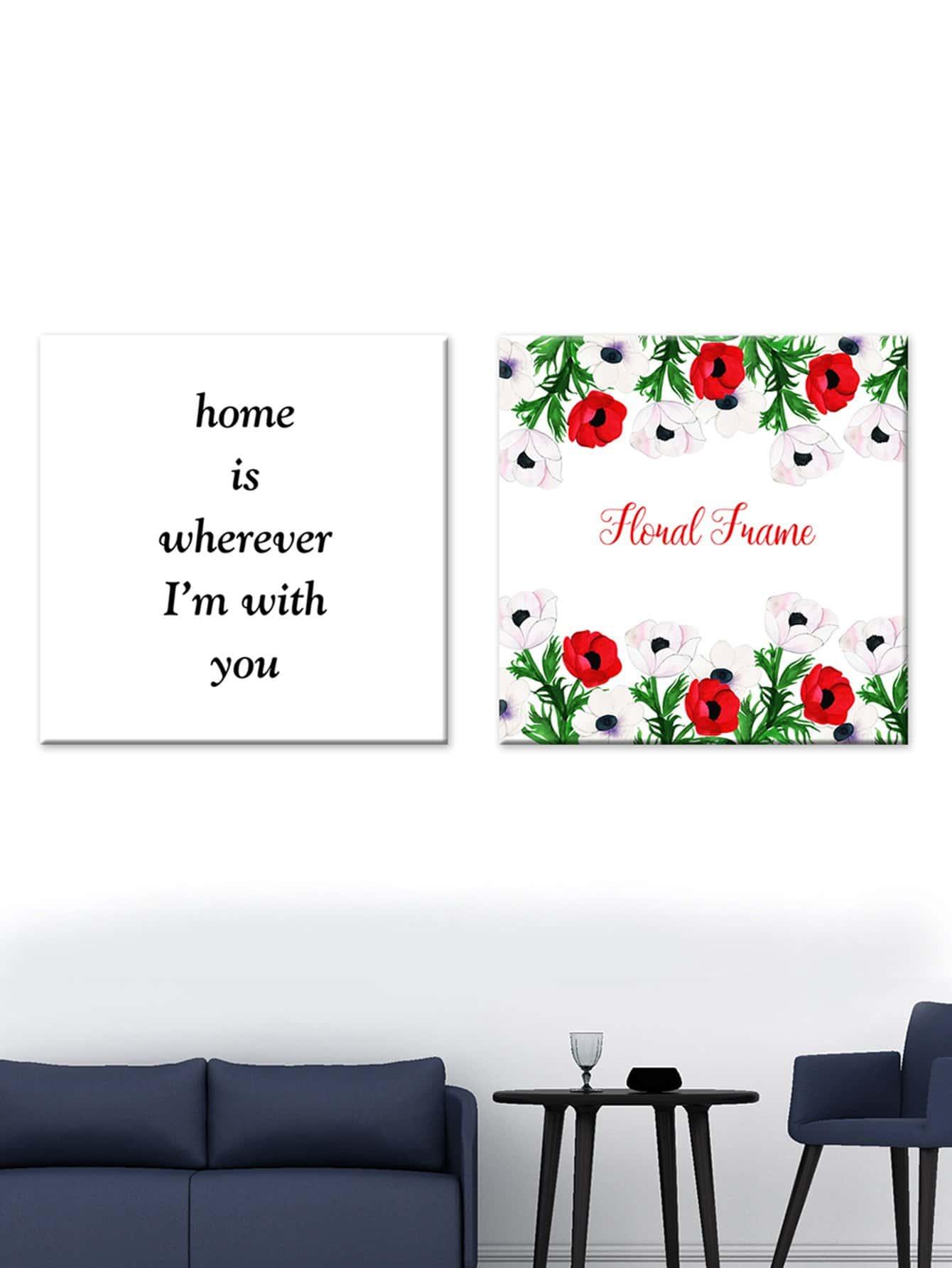 Flower & Slogan Print Cloth Wall Art 2pcs hydrangea flower cloth art
