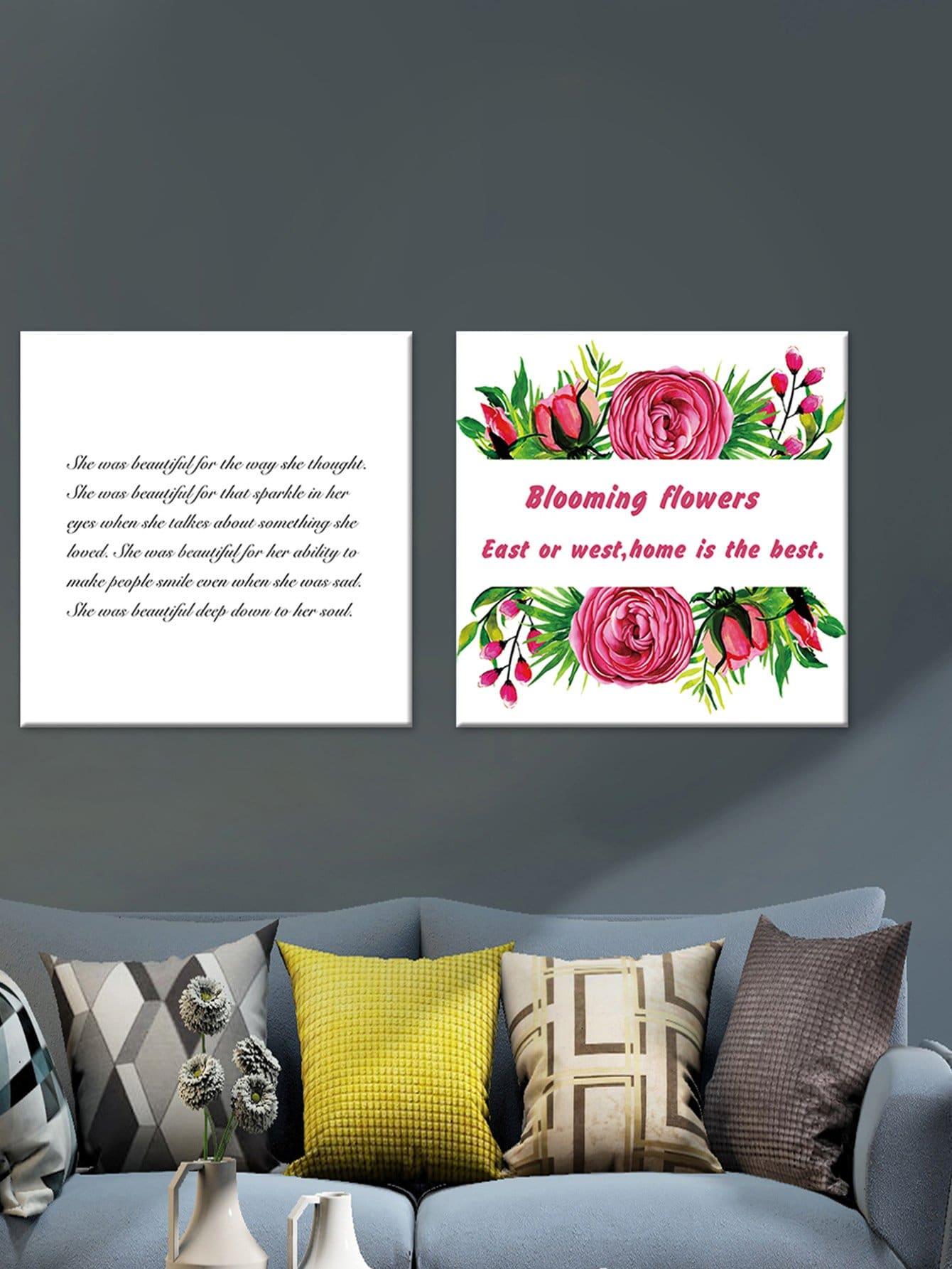 Rose & Slogan Print Cloth Wall Art 2pcs bear pattern cloth wall art 2pcs