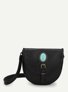 Turquoise Embellished Shoulder Bag
