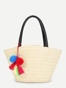 Pom Pom Decorated Straw Tote Bag
