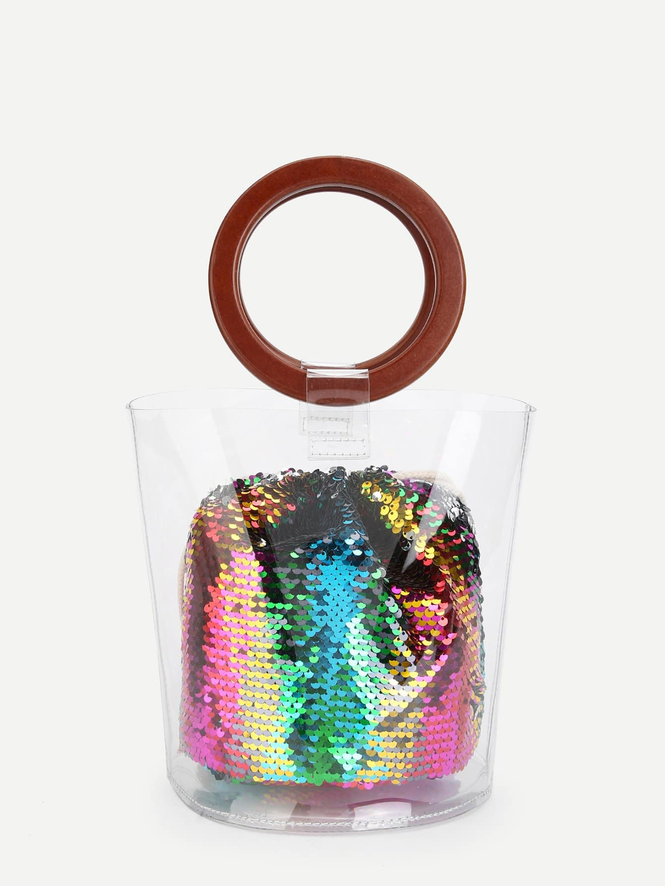 Clear Wood Handle Bag With Sequin Pouch clear wood handle bag with sequin pouch