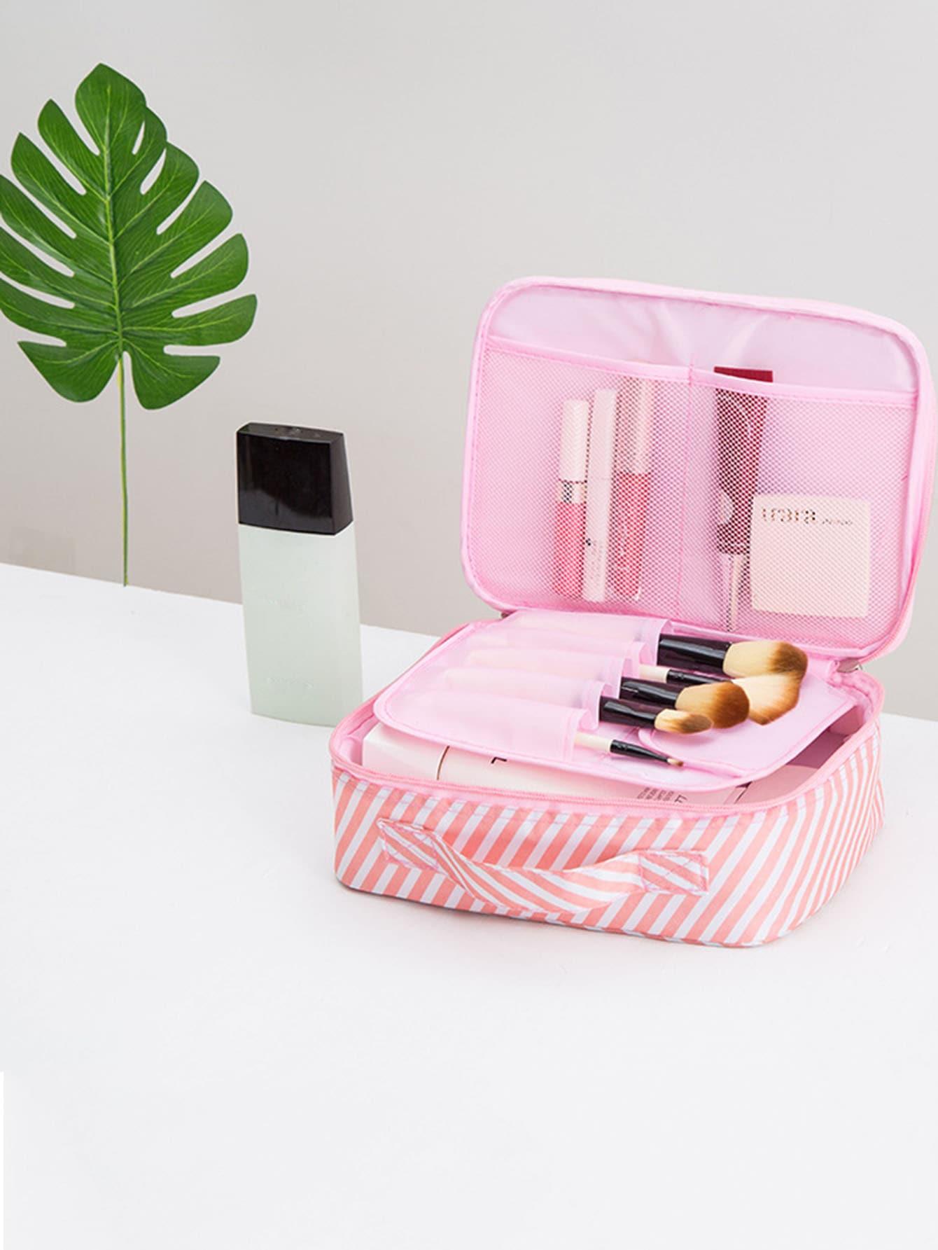 Striped Makeup Bag striped drawstring wrap around makeup bag