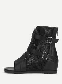 Mesh Panel Wedge Sandals