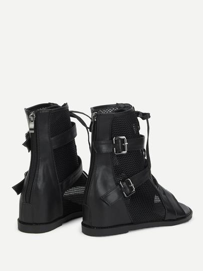 Romwe / Mesh Panel Wedge Sandals