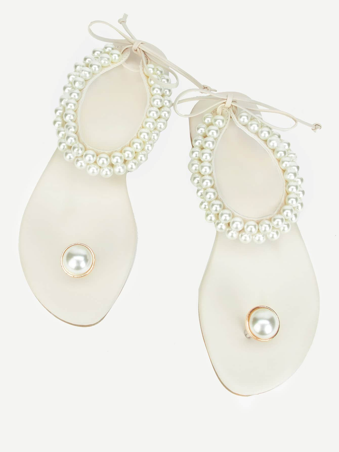 Toe Ring Faux Pearl Sandals faux pearl asymmetrical ring