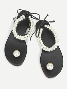 Toe Ring Faux Pearl Sandals