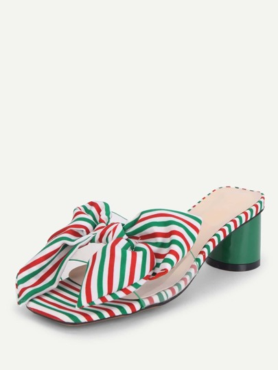 Bow Tie Striped Heeled Mules