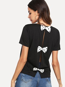 Bow Tie Open Back Blouse