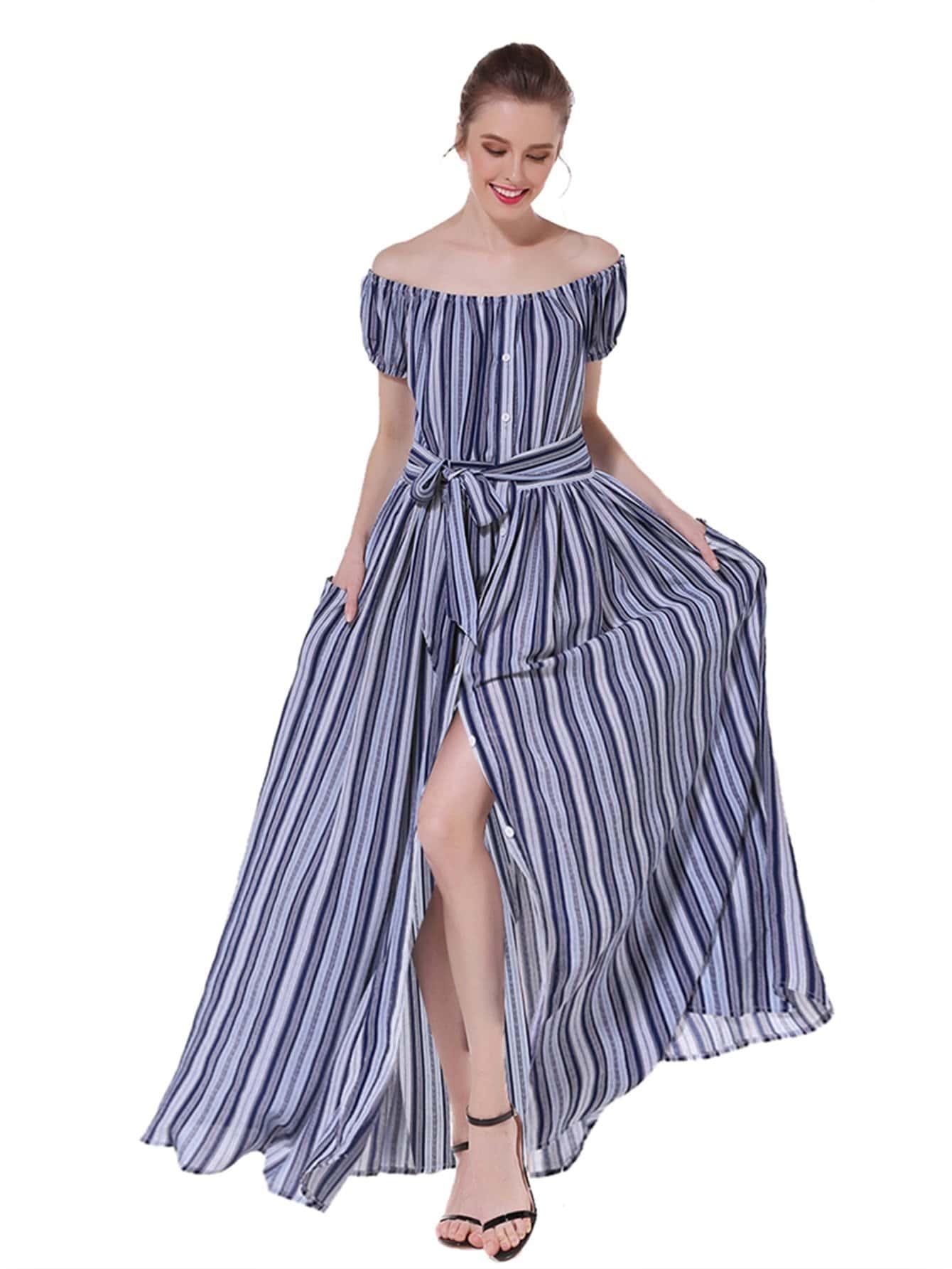 Off-Shoulder Striped Tie Waist Split Dress one shoulder waist knot split striped dress