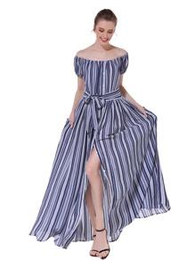 Off-Shoulder Striped Tie Waist Split Dress