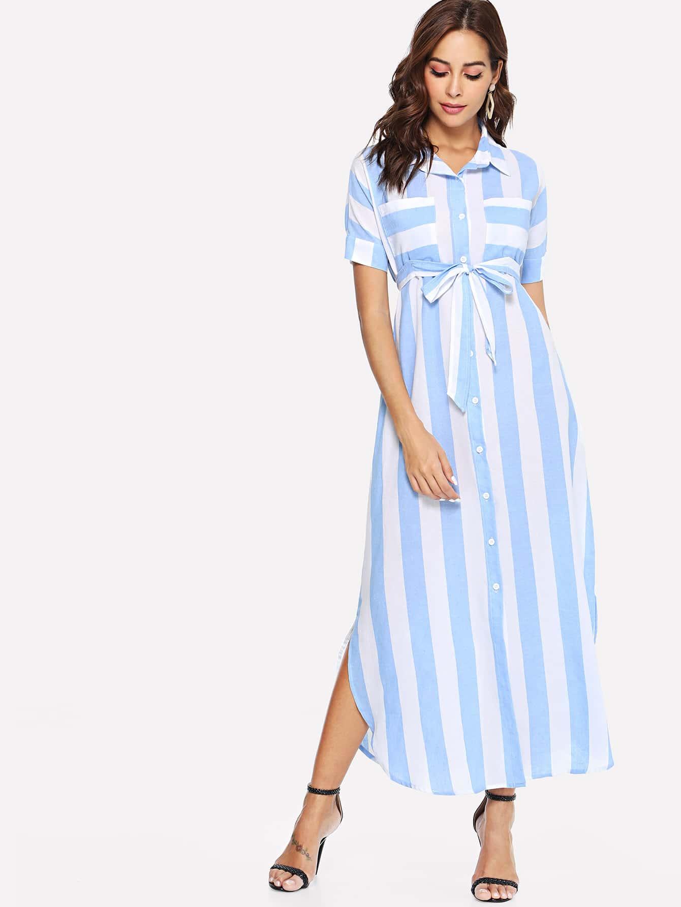 Купить Платье с полосками и пуговицами, Giulia, SheIn