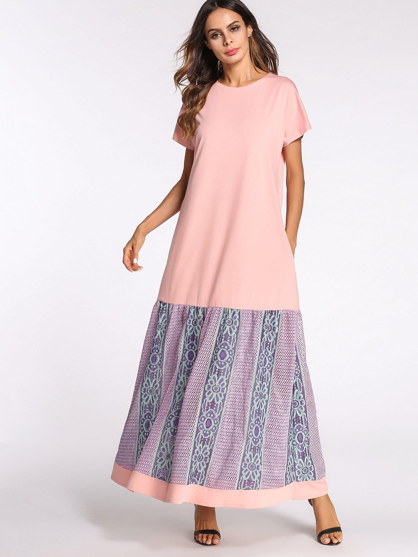 Contrast Lace Ruffle Hem Dress