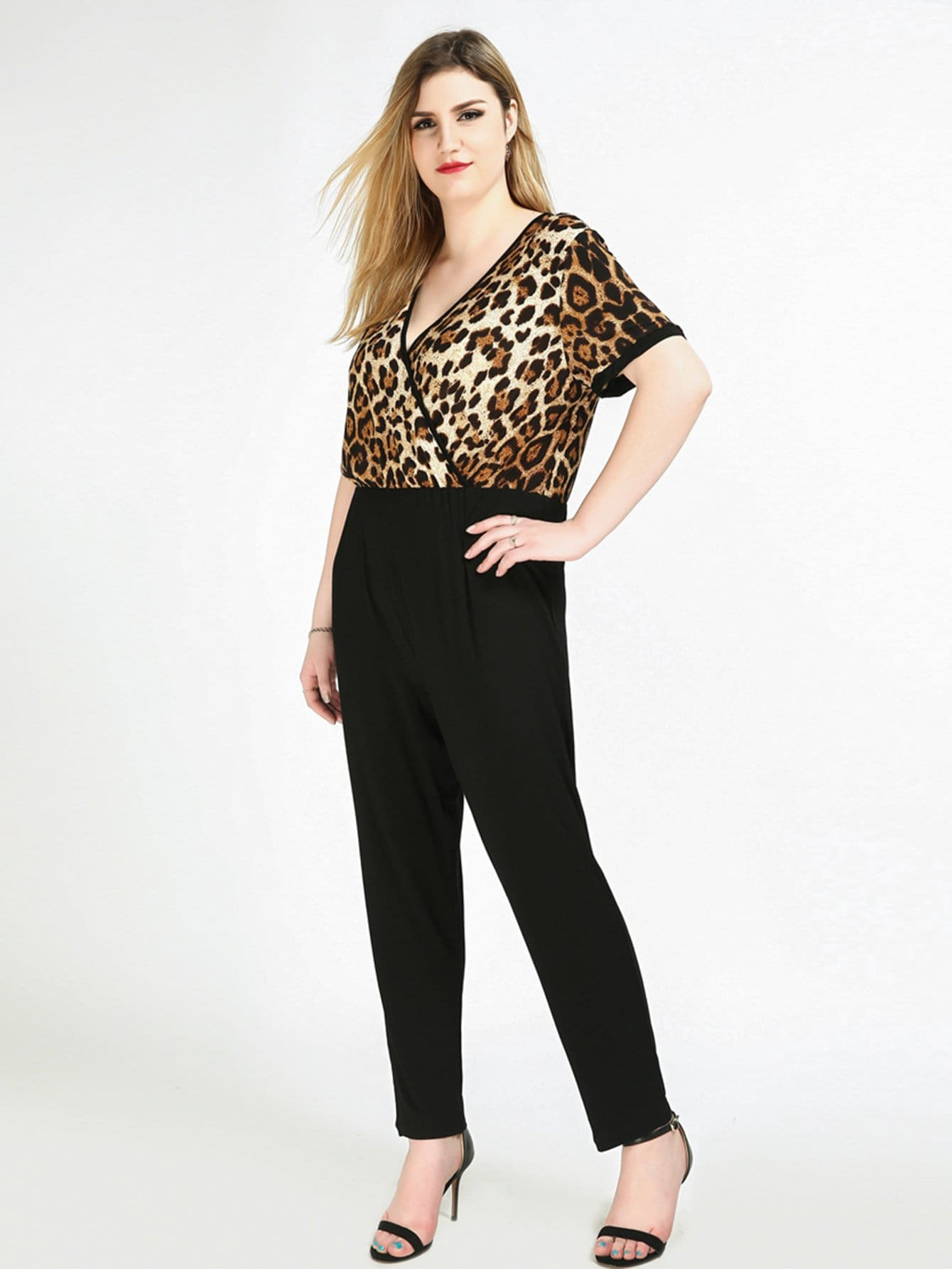 Plus Leopard Print Wrap Jumpsuit flamingo print wrap jumpsuit