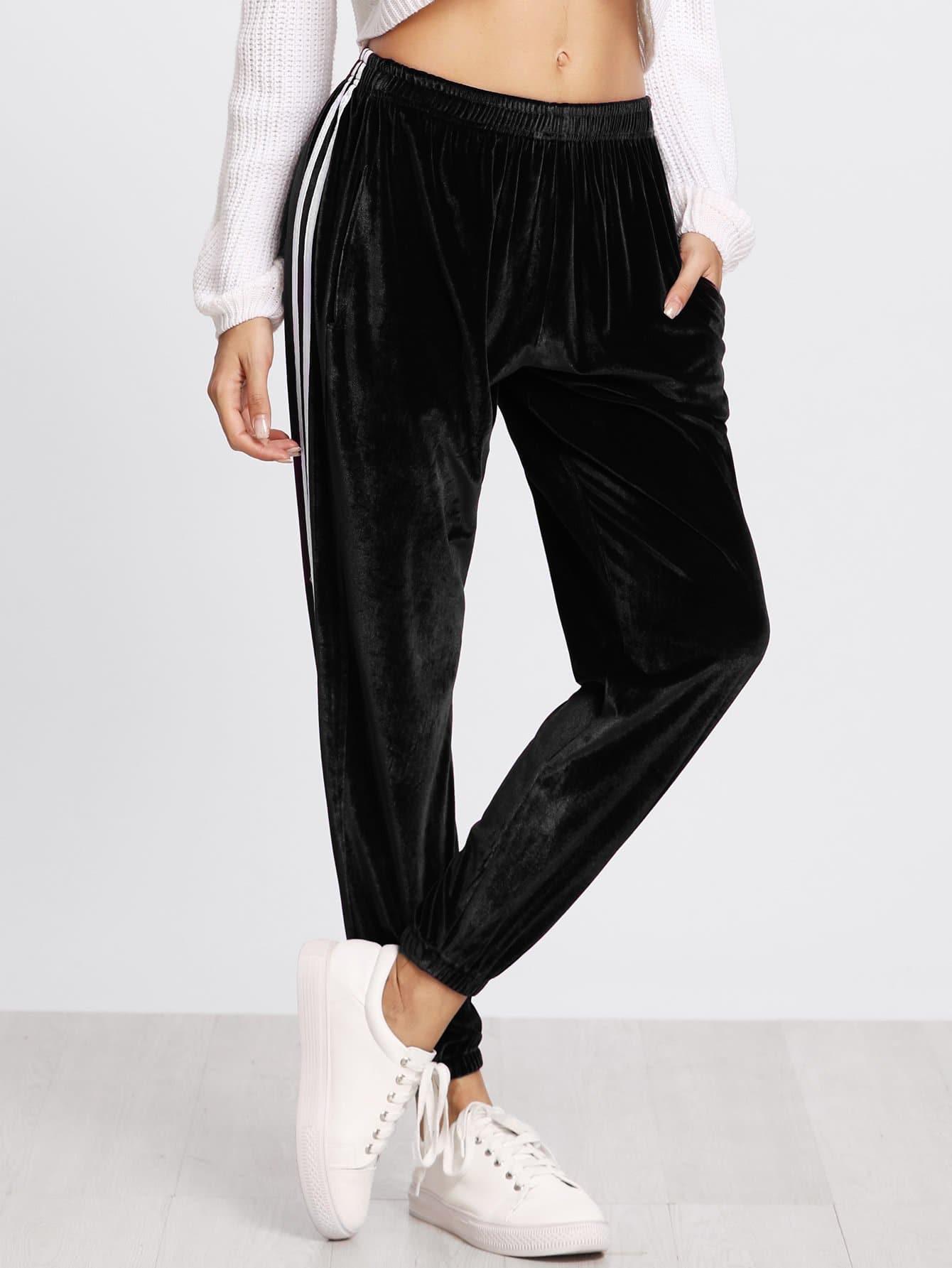 Striped Elastic Waist Velvet Pants striped tape applique velvet pants