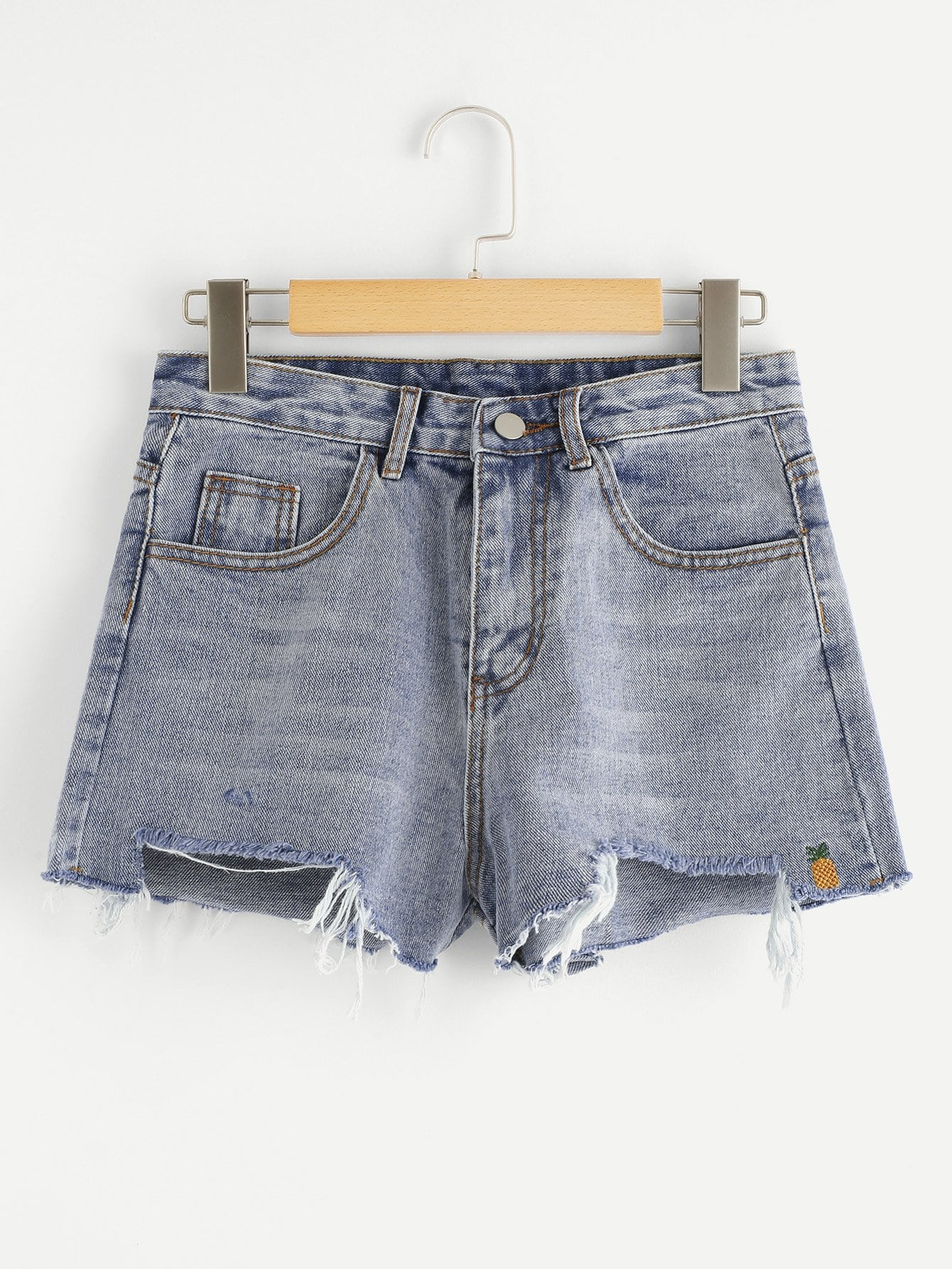 Pineapple Embroidered Fray Hem Denim Shorts шины michelin 215 225 235 255 285 55 60 65 16 r17r18
