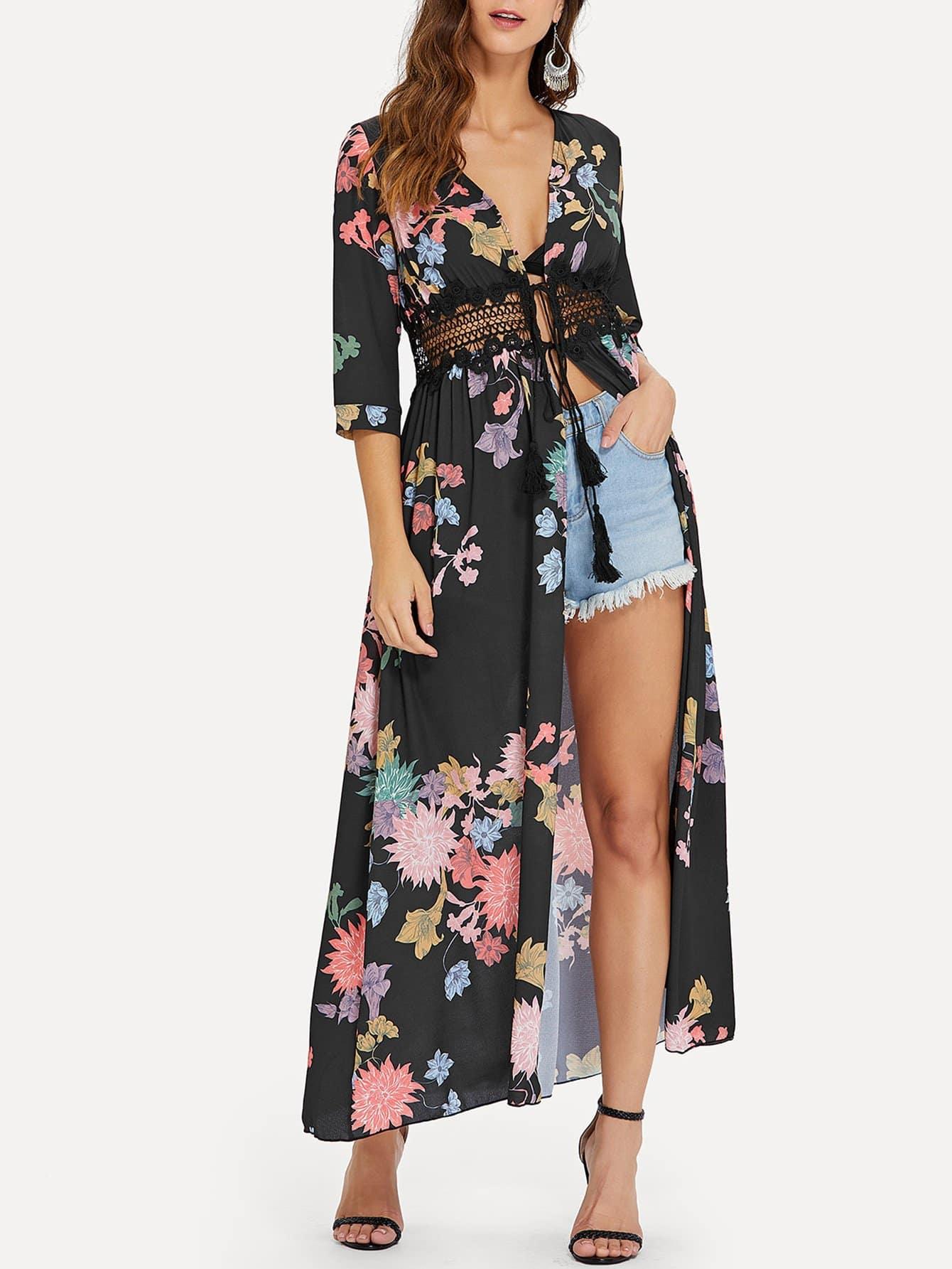 Купить Цветочное кимоно с кисточками и кружевами, Gabe, SheIn