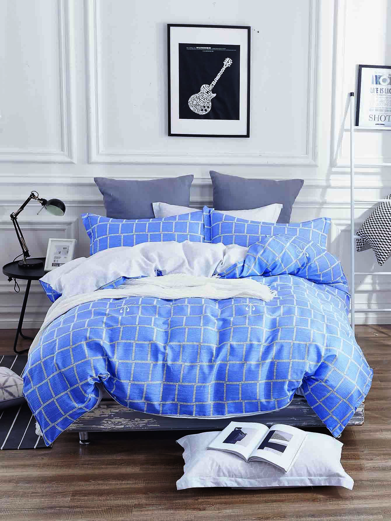 Plaid Duvet Cover Set grid duvet cover set