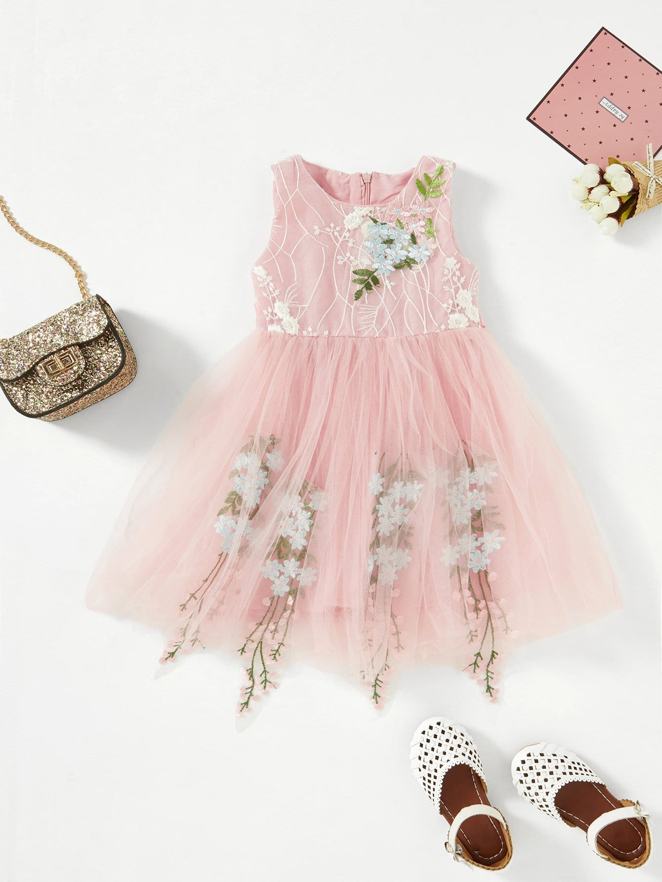 Embroidery Mesh Ribbon Tie Dress embroidery mesh ribbon tie dress